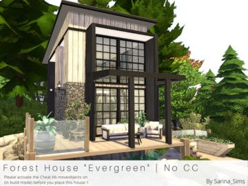 Компактный жилой дом Forest House Evergreen от Sarina для Sims 4