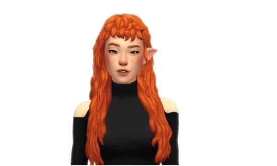Прическа с длинными, кудрявыми волосами и челкой для Sims 4: Fiery Hair