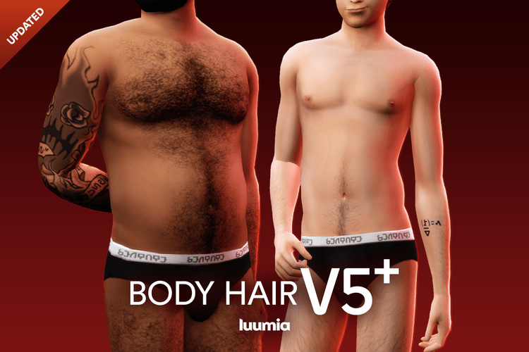 Мод волосы на теле для мужчин Sims 4: Body Hair v5+