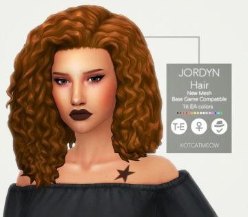 Женская прическа Jordyn Hair от KOTCATдля Sims 4
