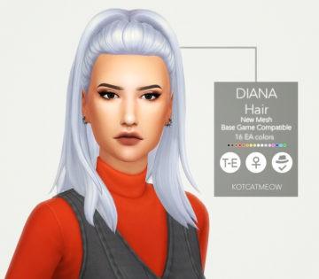 Женская прическа Diana Hair от KOTCAT для Sims 4