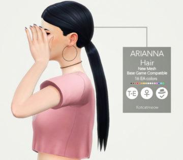 Женская прическа Arianna Hair от KOTCAT для Sims 4
