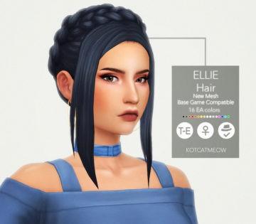 Женская прическа Ellie Hair от KOTCAT для Sims 4