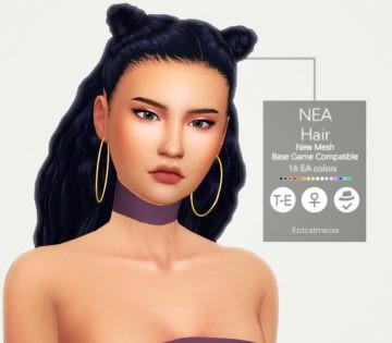 Женская прическа Неа Hair от KOTCAT для Sims 4