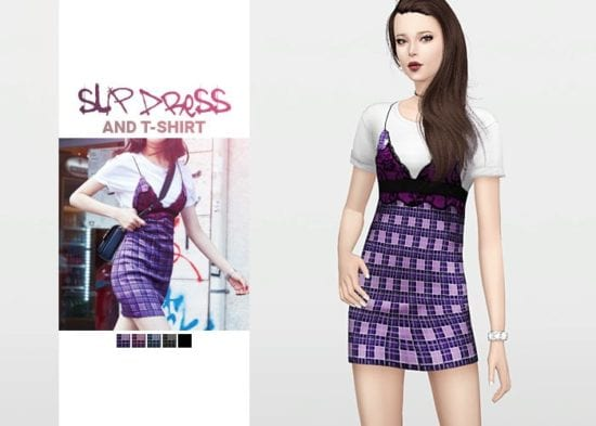 Короткий сарафан с футболкой для Sims 4 - Slip Dress and T-Shirt