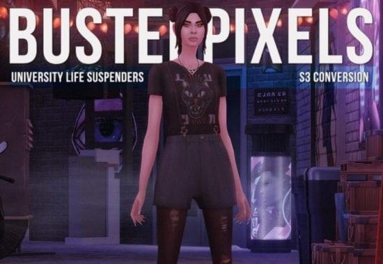 Шорты на подтяжках с футболкой Sims 4: University Life Suspenders