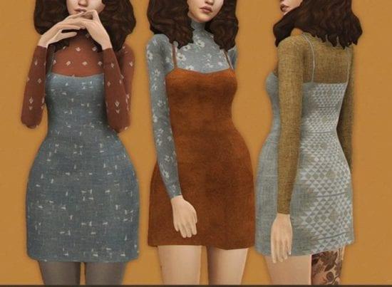 Теплый сарафан со свитером Sims 4: violet dress
