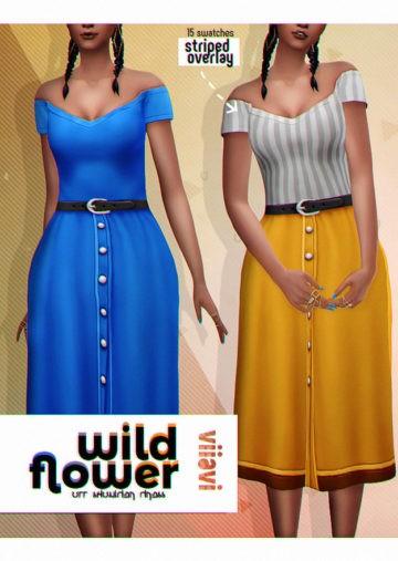 Яркое платье с открытыми плечами Sims 4: Off Shoulder Dress