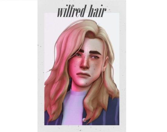 Мужская прическа Sims 4 с длинными, растрепанными волосами: wilfred hair
