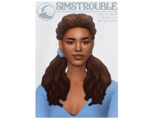 Милая прическа с хвостиками для женщин Sims 4: Anita