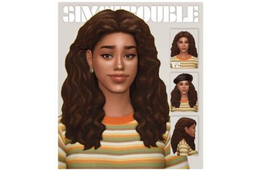 Милая женская прическа с кудрявыми волосами Sims 4: Delta
