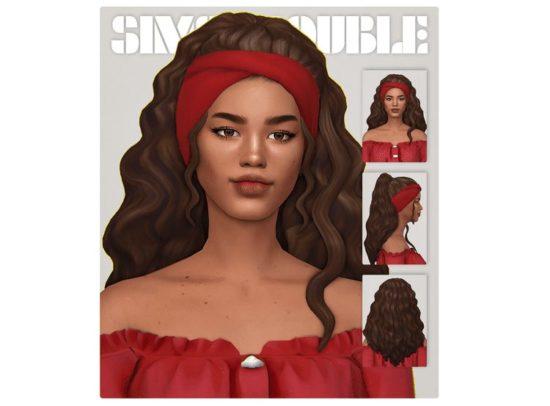 Роскошная женская прическа Sims 4 с повязкой: Luna