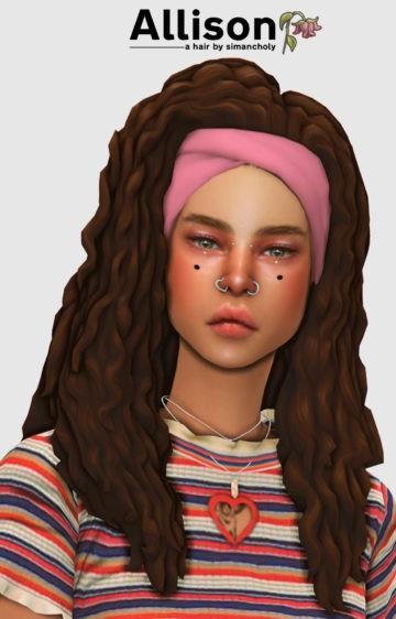 Высокая прическа для Sims 4 с кудрявыми волосами: Allison Hair