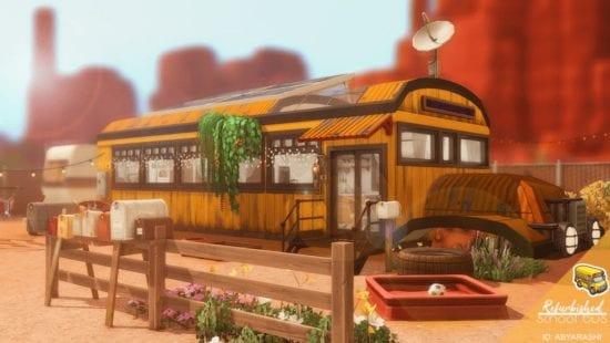Компактный дом в автобусе Sims 4: Refurbished School Bus