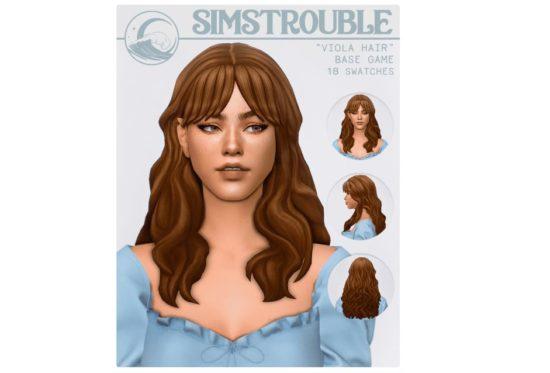 Милая прическа с челкой для Sims 4: VIOLA