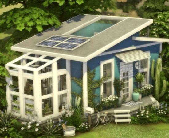 Компактный эко-дом для Sims 4:  blue tiny home