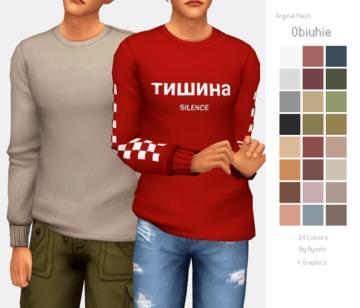 Мужская толстовка с надписями на русском для Sims 4: Obiuhie Top