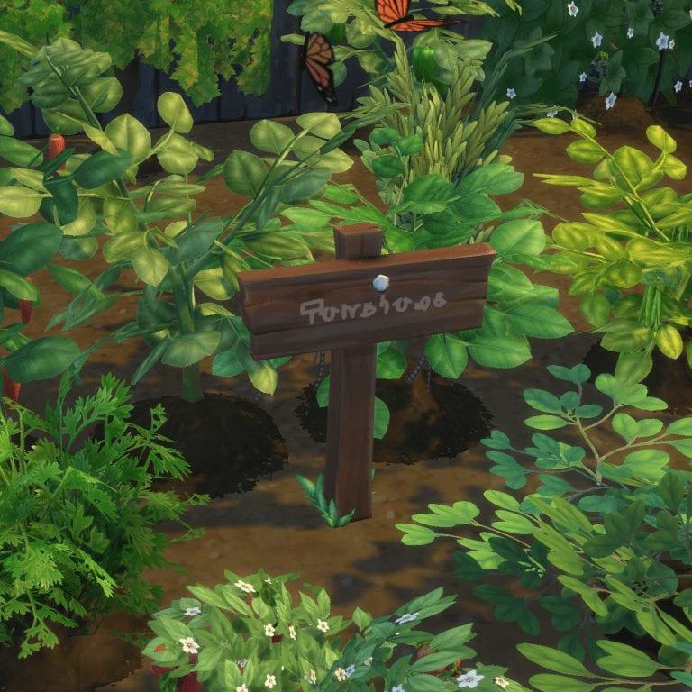 Мод на таблички для сада Sims 4: Functional Garden Sign