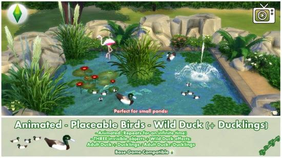 Мод на анимированных уточек Sims 4: Animated Wild Duck