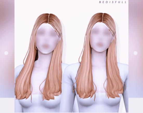 Детализированная женская прическа Sims 4 с распущенными волосами: floria hair