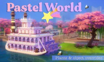 Мод на замену текстур в городах Sims 4: Pastel World