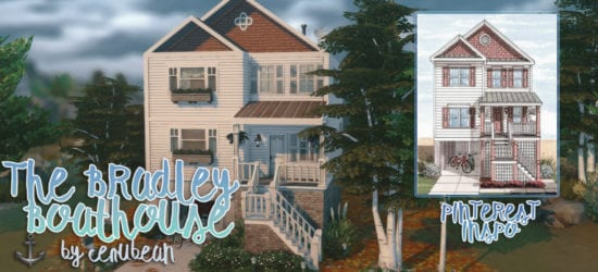 Уютный двухэтажный дом для Sims 4 с гаражом: THE BRADLEY BOATHOUSE