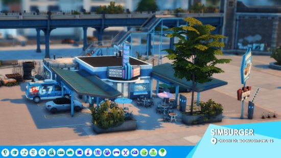 Заправка с закусочной для Sims 4: SIMBURGER