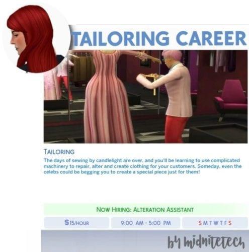 Мод на карьеру портного в Sims 4: TAILORING CAREER