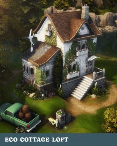 Эко-коттедж в стиле лофт для Sims 4: ECO COTTAGE LOFT