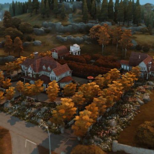 Большая ферма для Sims 4: Tudor Apple Garden Farm