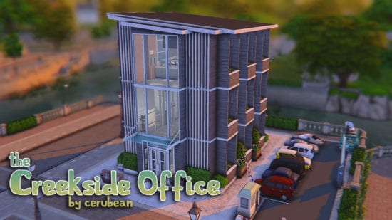 Рабочий офис и кафе для Sims 4: THE CREEKSIDE OFFICE