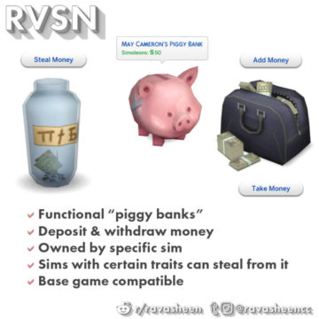 Функциональная копилка для Sims 4 - In Your Safe Piggy Banks