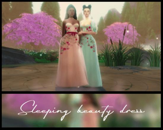 Женское воздушное платье Sims 4: Sleeping beauty dress