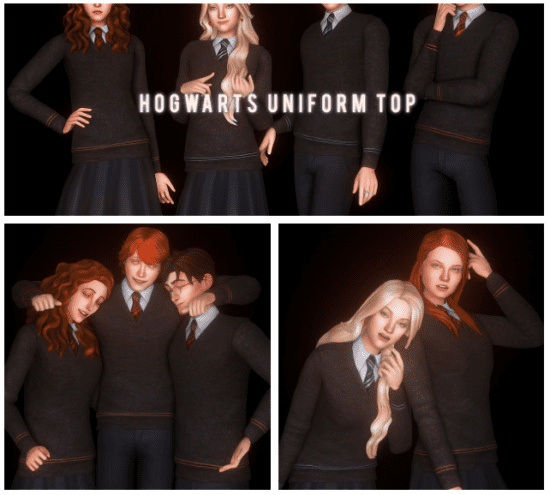 Школьная форма Хогвартса Sims 4: Hogwarts Uniform Top