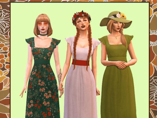 Женское платье Sims 4 в стиле фолк: Dress - Lola