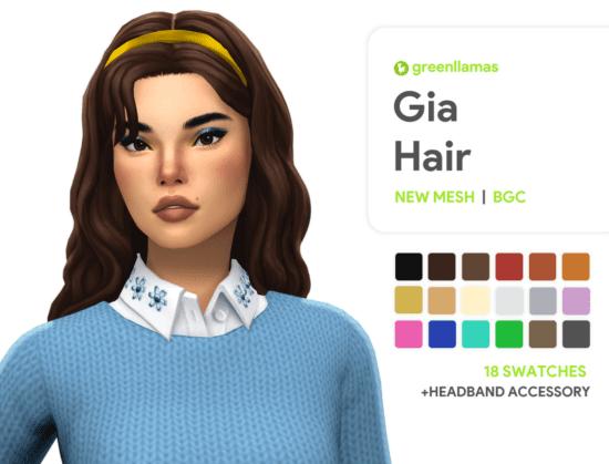 Милая женская прическа Sims 4 с обручем: Gia Hair