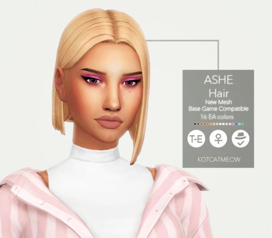 Стильная женская прическа Sims 4 с асимметричным карэ: Ashe Hair