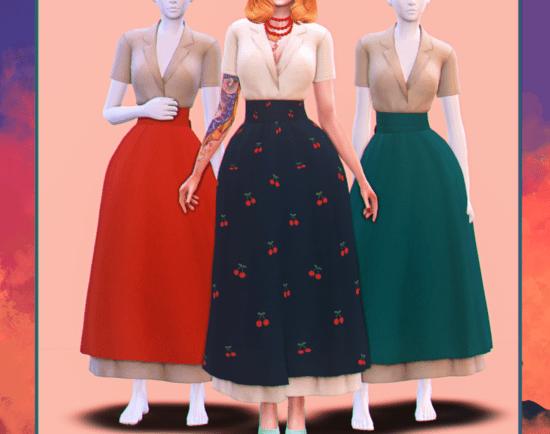 Женское платье Sims 4 в стиле ретро с пышной юбкой: Cherie