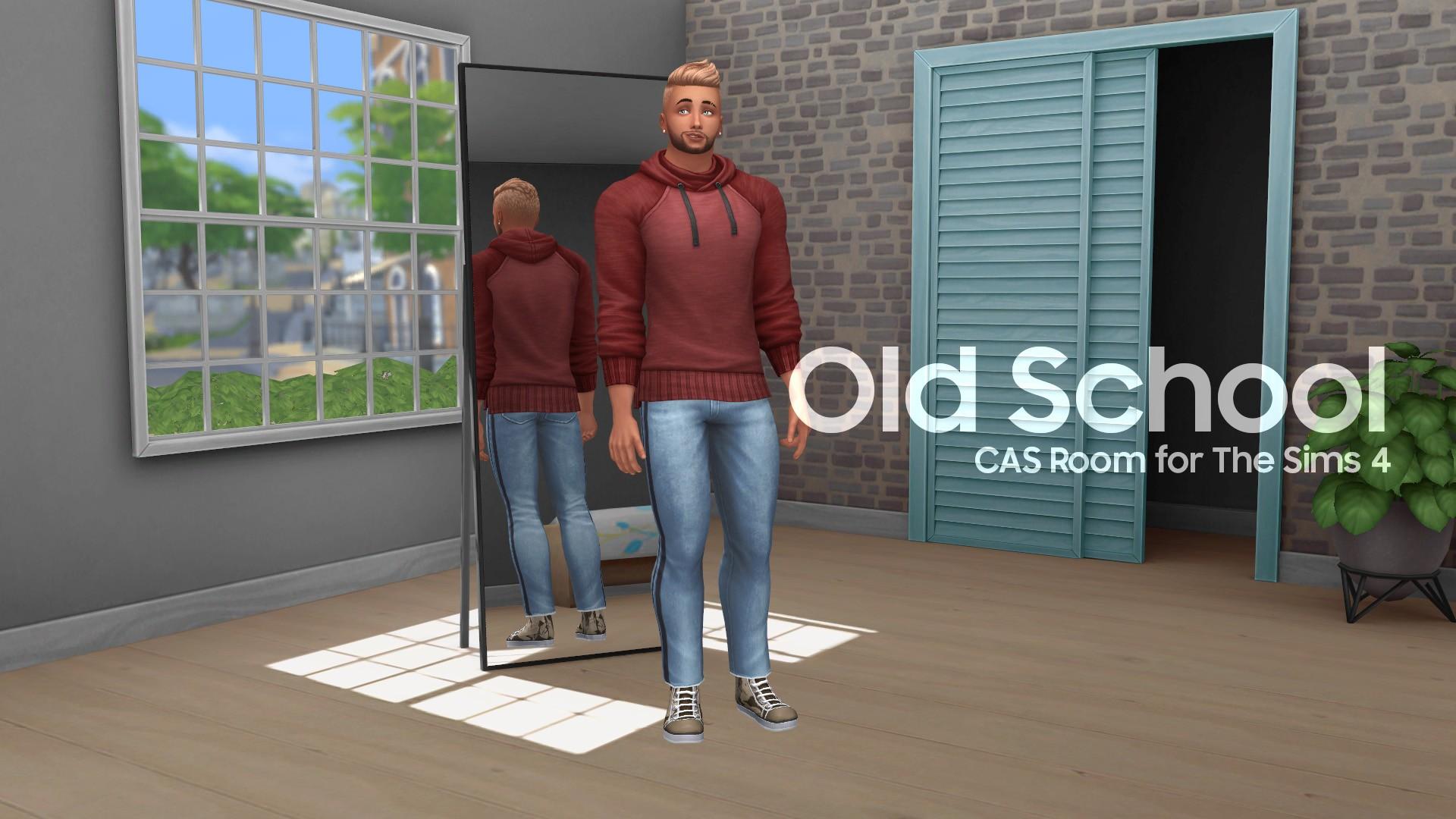 Мод на замену фона в КАС Sims 4: Old School комната из Sims 3