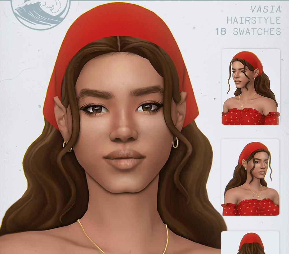 Женская прическа с косынкой Sims 4: VASIA