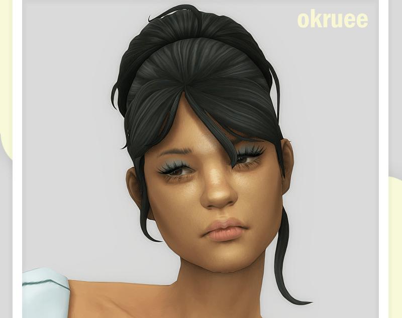 Женская прическа с челкой и высокой прической Sims 4: bordeaux hair