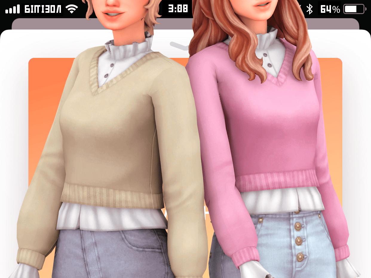 Женский свитер с блузкой Sims 4: inis blouse