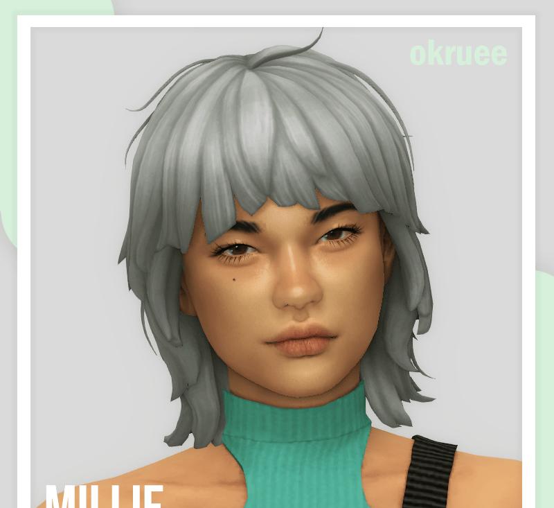 Женская прическа с длинной челкой Sims 4: millie hair