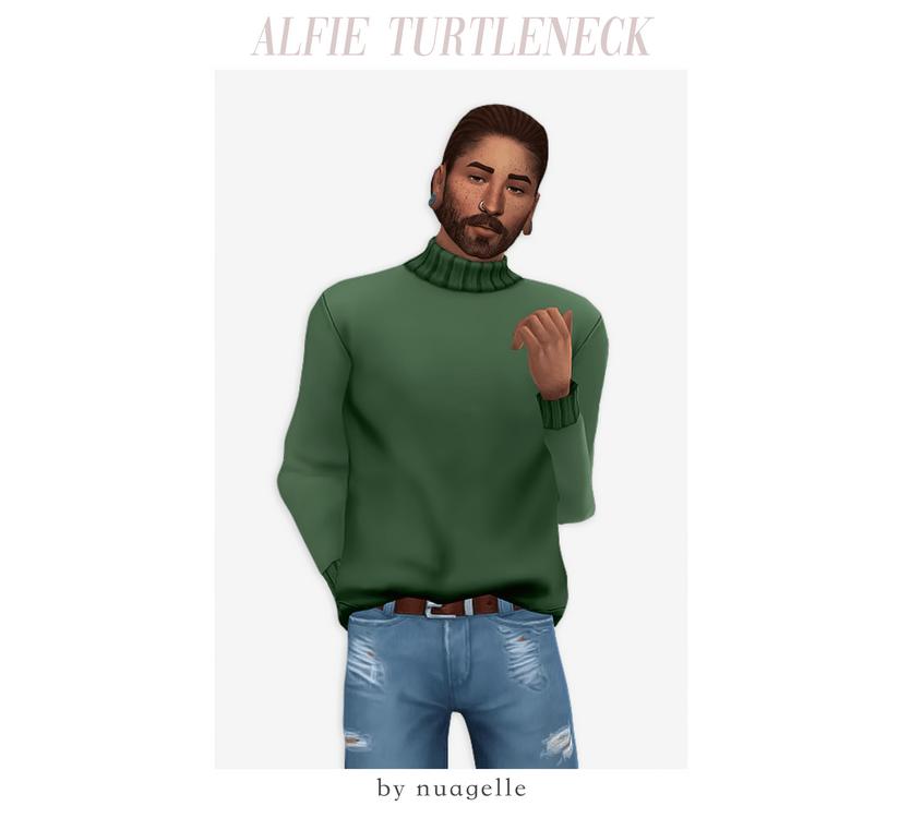 Мужской свитер Sims 4, заправленный в брюки: Alfie Turtleneck