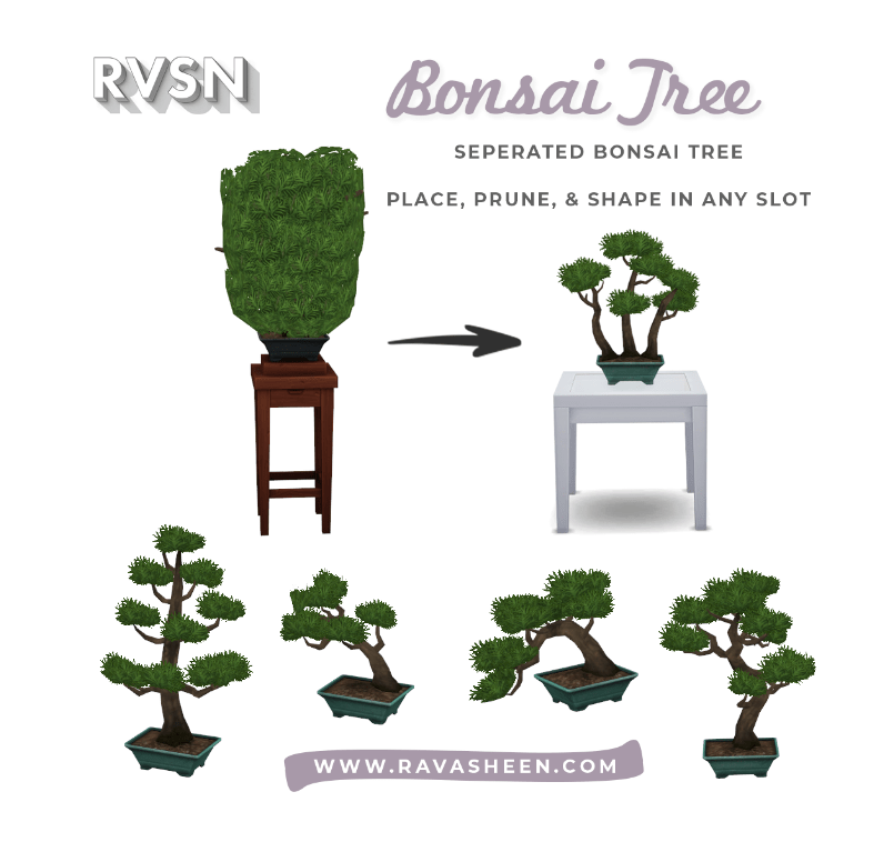 "Мод ""Бонсай на любой поверхности"" Sims 4: Bonsai Tree"