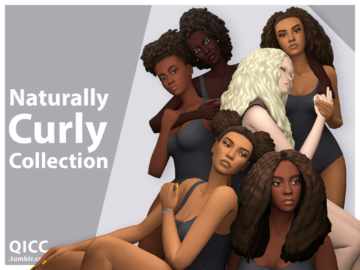 Набор женских причесок Naturally Curly Collection от QUIRKY INTROVERT для Sims 4