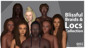 Набор женских и мужских причесок Blissful Braids & Locs Collection от QUIRKY INTROVERT для Sims 4