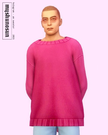 Мужской оверсайз свитер Hologram Patchwork Sweater для Sims 4