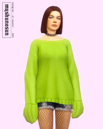 Оверсайз свитер для женщин Hologram Patchwork Sweater в Sims 4