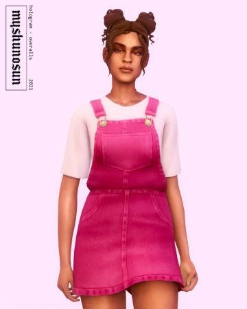 Женский джинсовый сарафан Hologram Overalls для Sims 4